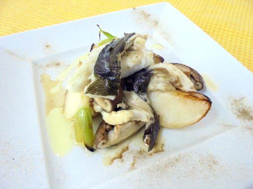 平目と蕪、椎茸の蒸し焼き コリアンダー風味