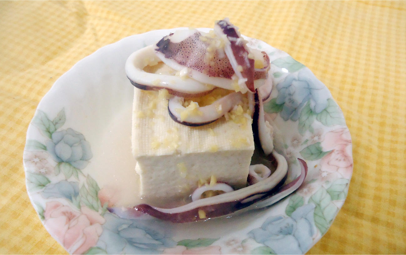 イカの生姜風味和えやっこ 中華仕立て