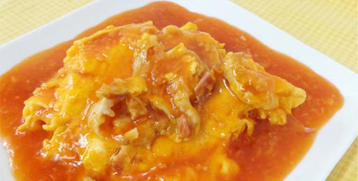 ホッキ貝と卵の炒めチリソースかけ
