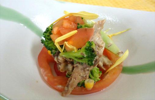 焼き鯖の味噌マヨネーズ和え